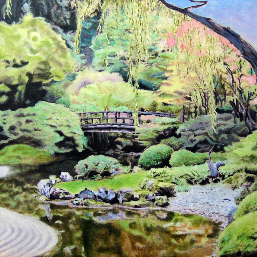 Zen Japanese Garden- Panel 2 Painting  - Zen Japanese Garden- Panel 2 Fine Art Print