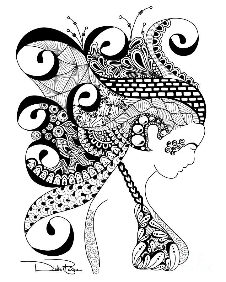 Zen Line Art : Zen lady by debi payne