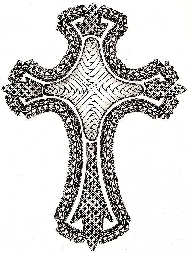 Zentangle Cross Drawing