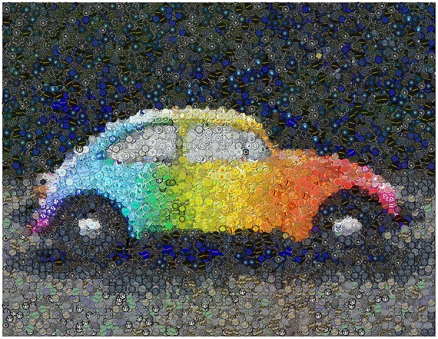 Zodiac Vw Bug Mosaic Mixed Media  - Zodiac Vw Bug Mosaic Fine Art Print