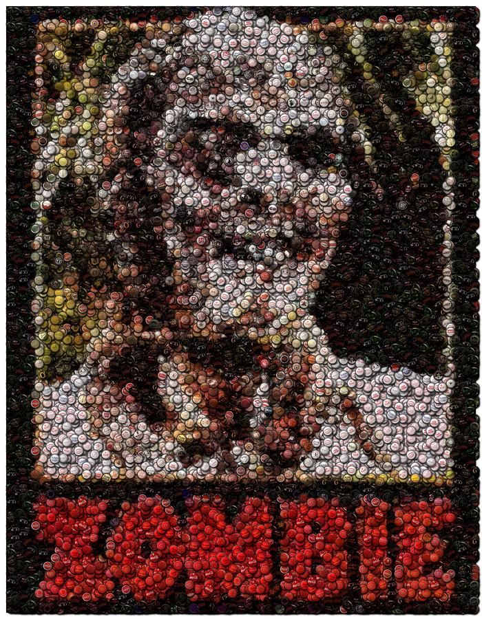 Zombie Bottle Cap Mosaic Digital Art  - Zombie Bottle Cap Mosaic Fine Art Print