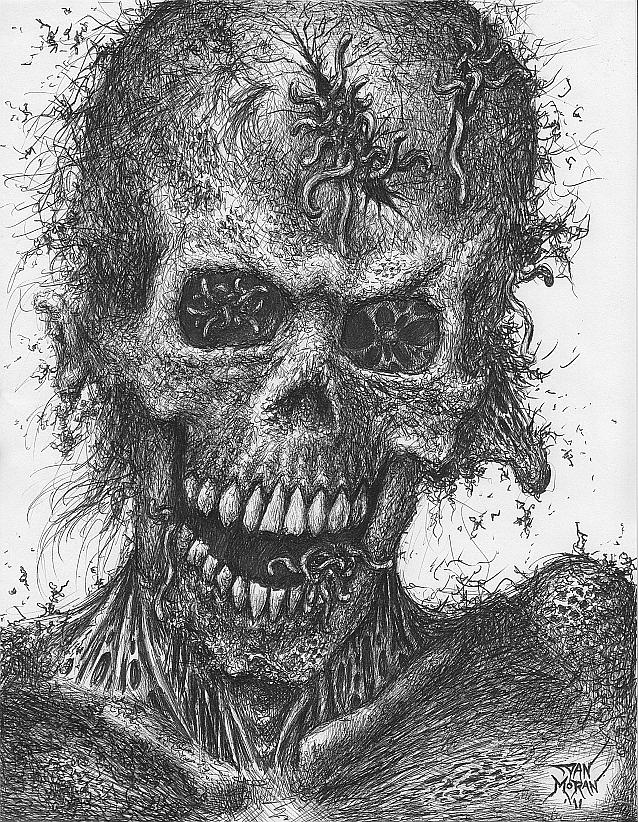 Zombie Drawing - Zombie Portrait Number 4 by Dan Moran