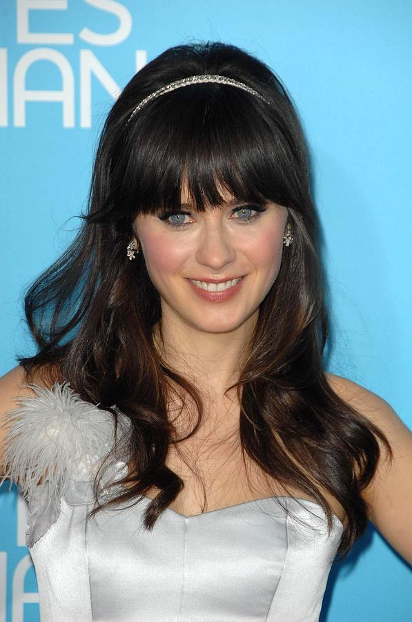 Zooey Deschanel At Arrivals For Los Photograph  - Zooey Deschanel At Arrivals For Los Fine Art Print