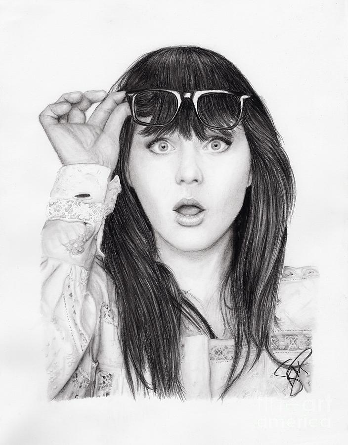 Zooey Deschanel Drawing  - Zooey Deschanel Fine Art Print