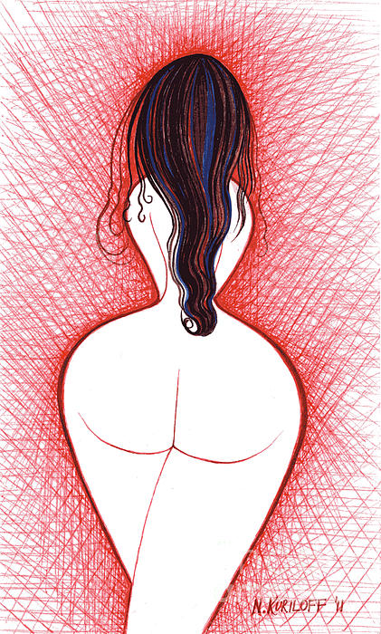 Erotic Nude Brunette in Red Background Drawing - Erotic Nude Brunette in Red ...