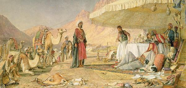 A Frank Encampment In The Desert Of Mount Sinai Print by John Frederick Lewis