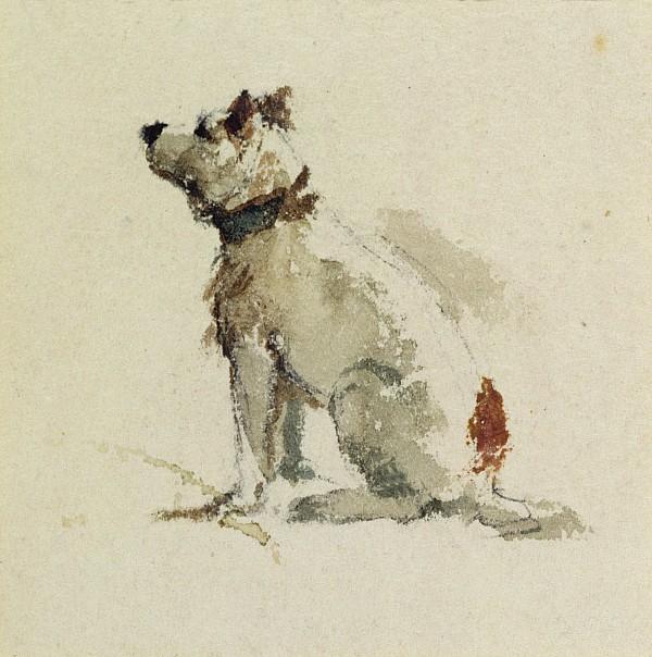 A Terrier - Sitting Facing Left Print by Peter de Wint