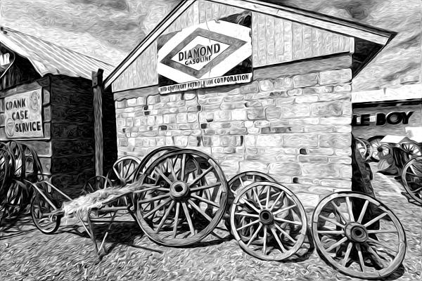 Antique Wagon Wheels Print by James Steele