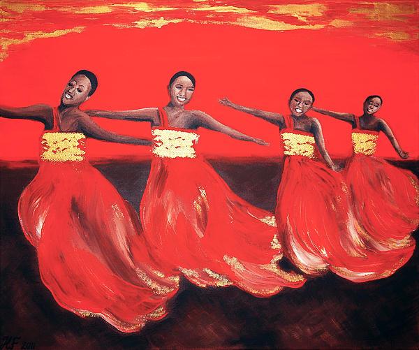 Dancing Women Print by Helene Fallstrom