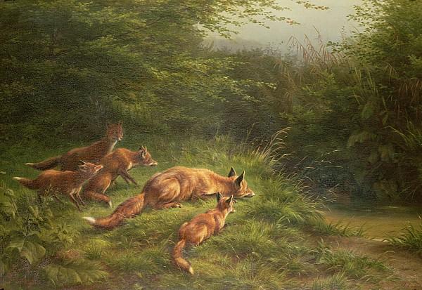 Foxes Waiting For The Prey   Print by Carl Friedrich Deiker