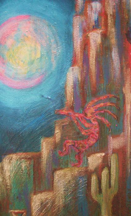 Kokopelli Moon Painting Print by Anne-Elizabeth Whiteway