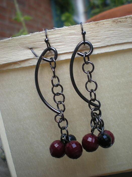 Beth Sebring -  Link Gun Metal Earrings