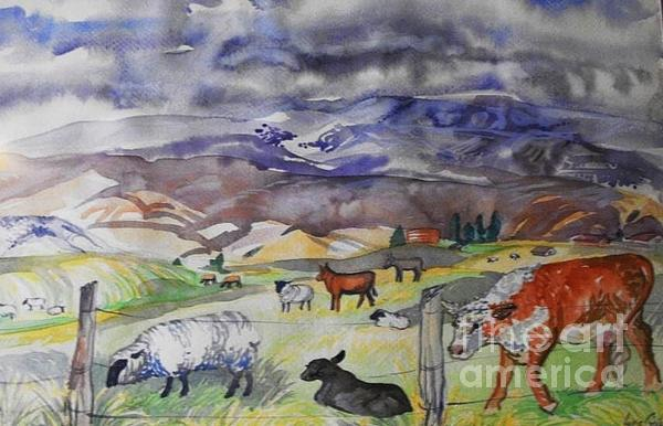 Mixed Farm Animals Graze In Field Print by Annie Gibbons