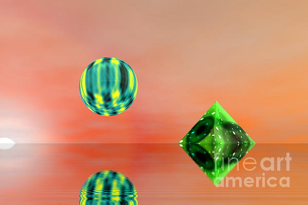 Planet And Piramid Print by Odon Czintos