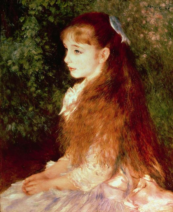 Portrait Of Mademoiselle Irene Cahen D'anvers Print by Pierre Auguste Renoir