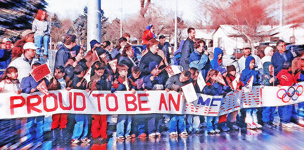 School Children Holding Sign - Olympic Torch Passing Print by Steve Ohlsen