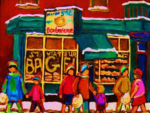 St. Viateur Bagel Family Bakery Print by Carole Spandau
