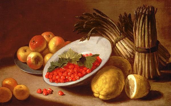 Still Life Of Raspberries Lemons And Asparagus  Print by Italian School