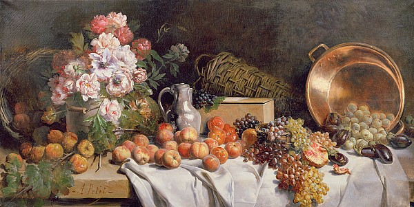 Still Life With Flowers And Fruit On A Table Print by Alfred Petit