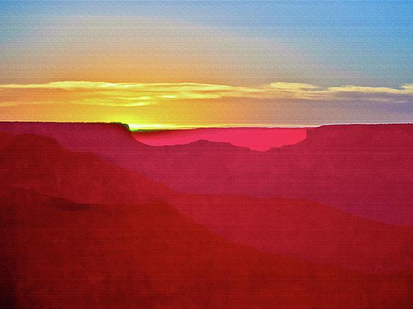 Sunset At Grand Canyon Desert View Print by  Bob and Nadine Johnston