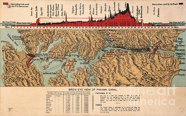 Card: Panama Canal, 1914 Print by Granger