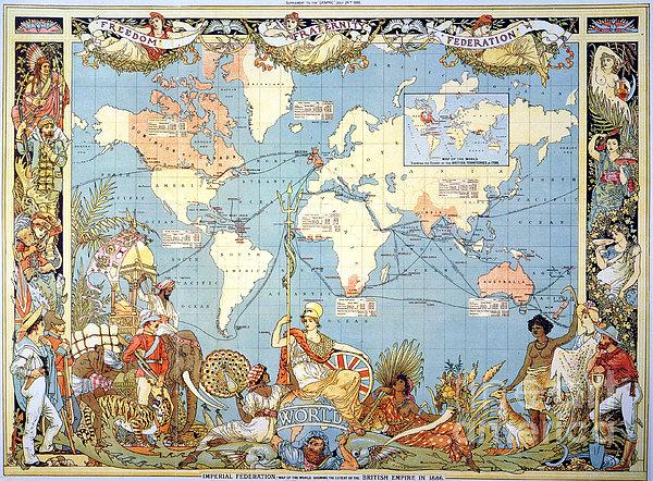 Map: British Empire, 1886 Print by Granger