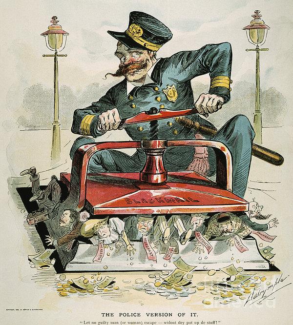 Police Corruption Cartoon Print by Granger