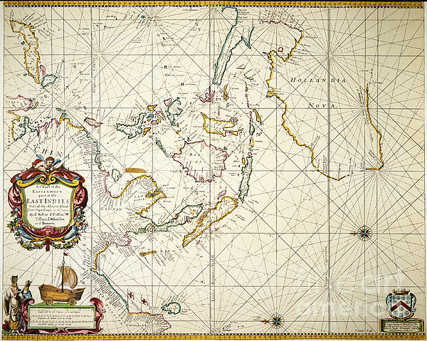Map: East Indies, 1670 Print by Granger