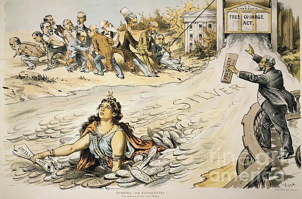 Free Silver Cartoon, 1890 Print by Granger