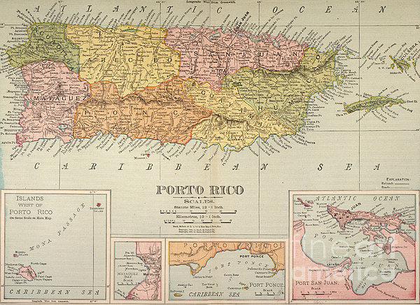 Map: Puerto Rico, 1900 Print by Granger
