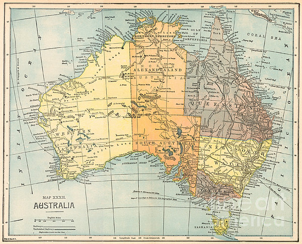 Map: Australia, C1890 Print by Granger