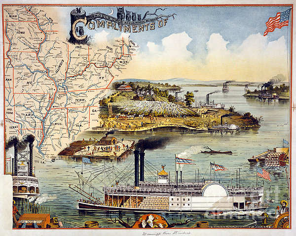 Mississippi Steamboat Print by Granger