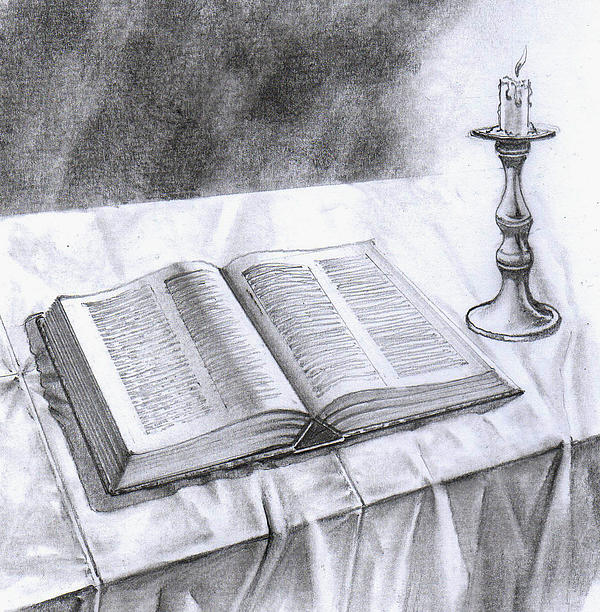 174 Bible And Candlestick Print by James Robinson