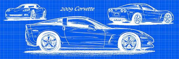 2009 C6 Corvette Blueprint Print by K Scott Teeters