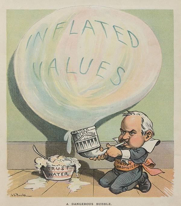 A Dangerous Bubble 1902 Cartoon Print by Everett