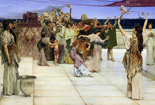 A Dedication To Bacchus Print by Sir Lawrence Alma-Tadema