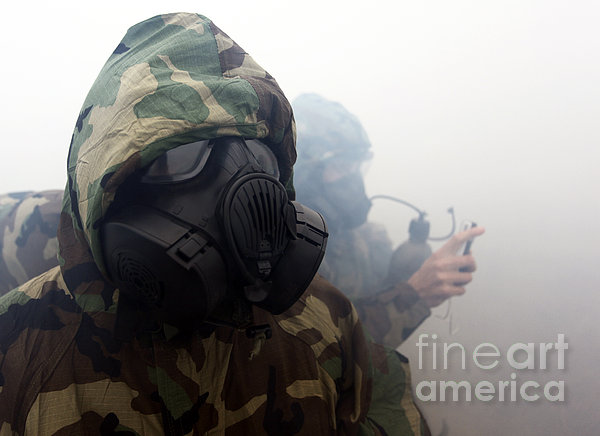 A Marine Wearing A Gas Mask Print by Stocktrek Images