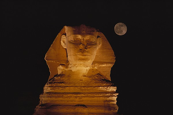 A View Of The Great Sphinx At Night Print by Bill Ellzey