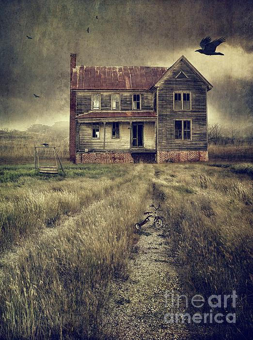 Abandoned Eerie Farmhouse With Dark Clouds Print by Sandra Cunningham