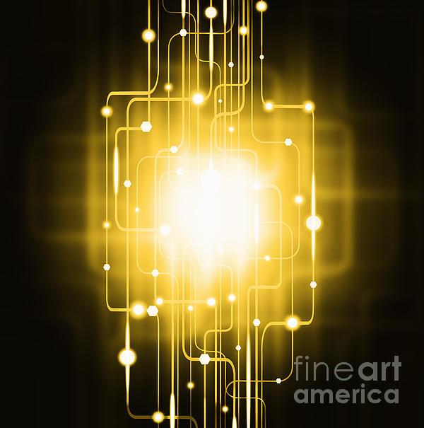 Abstract Circuit Board Lighting Effect  Print by Setsiri Silapasuwanchai