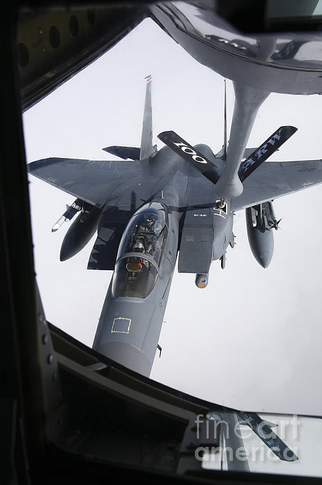 Air Refueling A F-15e Strike Eagle Print by Daniel Karlsson