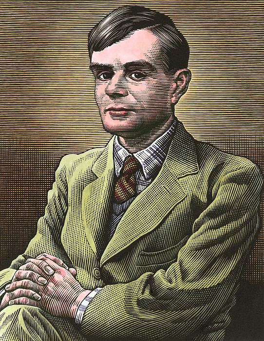Alan Turing, British Mathematician Print by Bill Sanderson