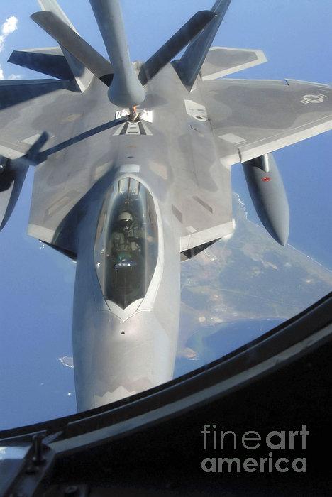 Kadena Decorative Pillow : An F-22 Raptor Receives Fuel by Stocktrek Images