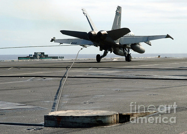 An Fa-18c Hornet Makes An Arrested Print by Stocktrek Images