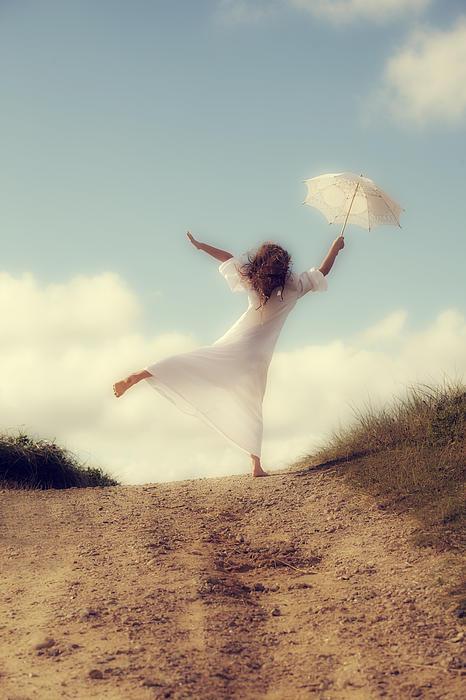 Angel With Parasol Print by Joana Kruse