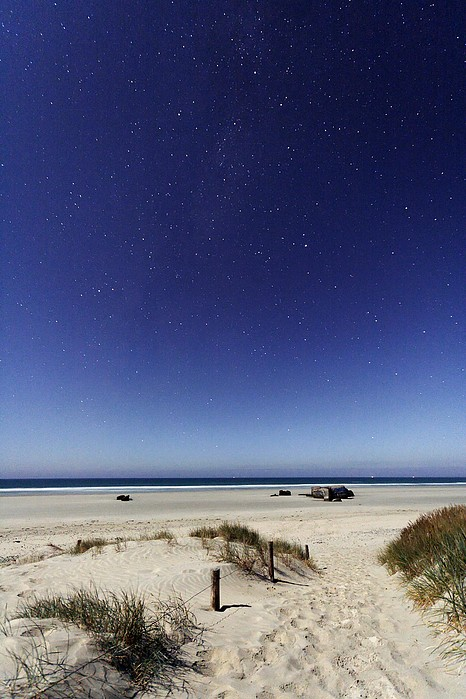 Beach Under A Full Moon Print by Laurent Laveder