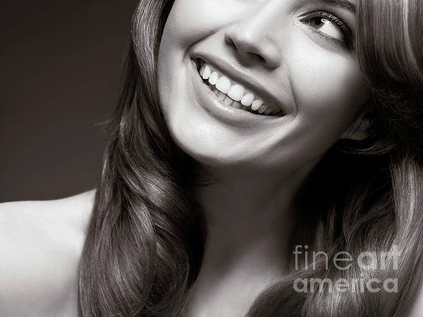 Beautiful Young Smiling Woman Print by Oleksiy Maksymenko