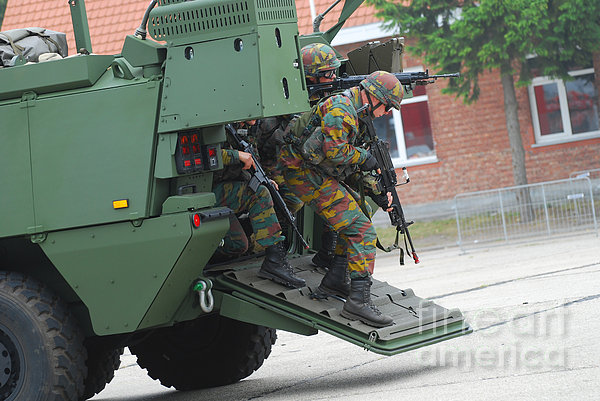 Belgian Infantry Soldiers Exit Print by Luc De Jaeger