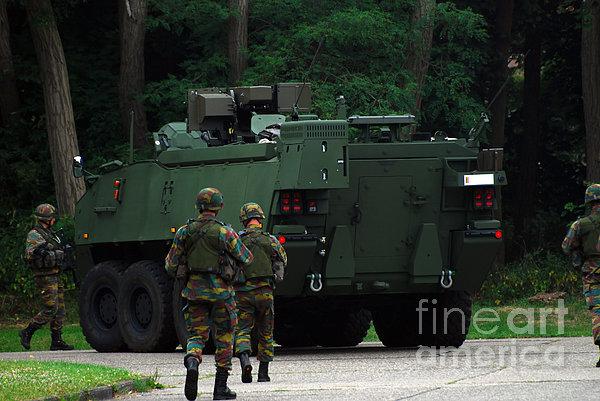 Belgian Infantry Soldiers Walk Print by Luc De Jaeger