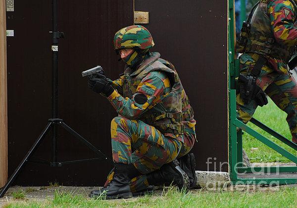 Belgian Paracommandos Entering Print by Luc De Jaeger